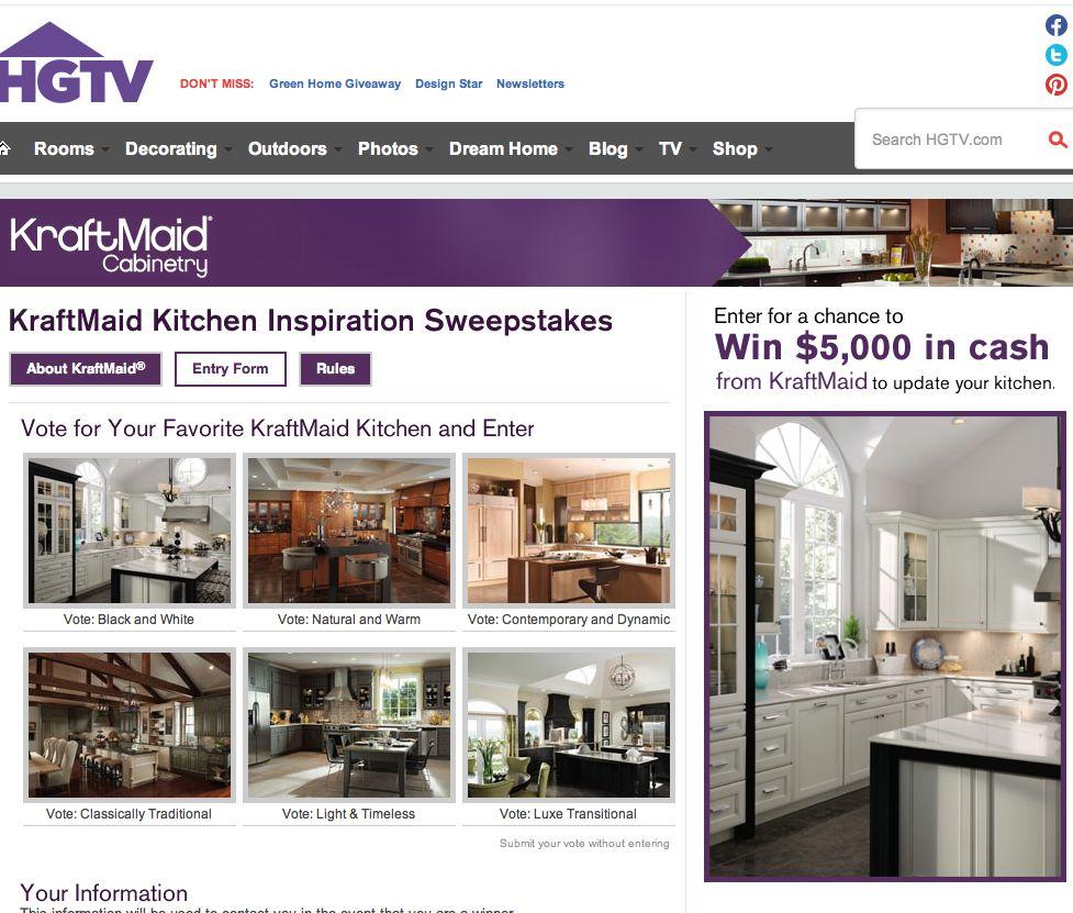 KraftMaid Kitchen Inspiration Sweepstakes