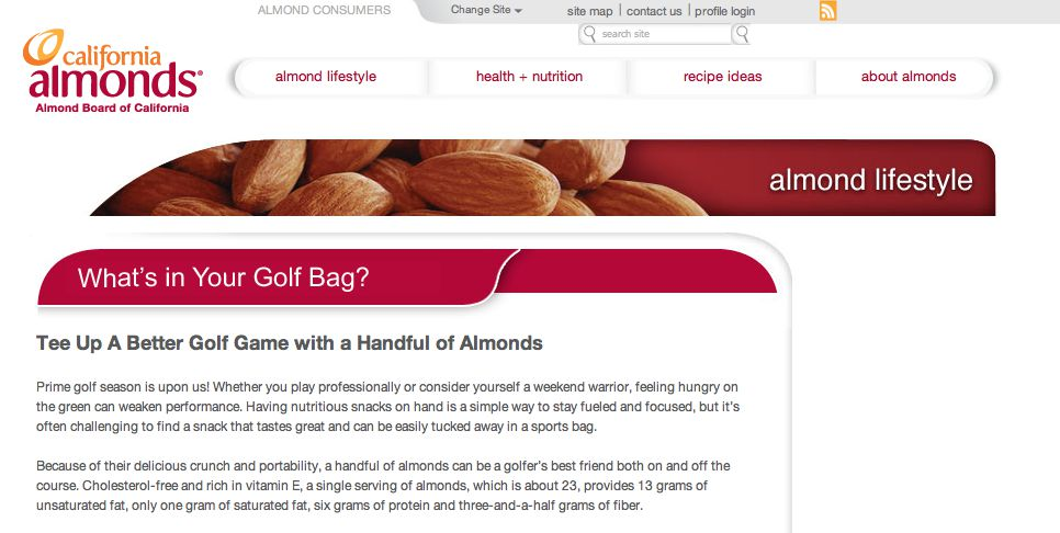 The Almond Board of California Pro Golf Getaway Sweepstakes