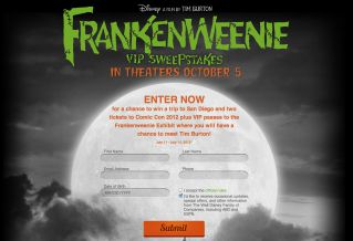 The Frankenweenie Sweepstakes
