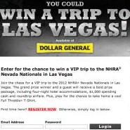 Full Throttle Las Vegas NHRA Sweepstakes and Instant Win