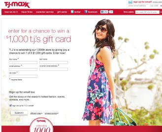 T.J. Maxx 1000th Store Celebration Sweepstakes