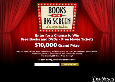 Books to the Big Screen Sweepstakes and Instant Win Game