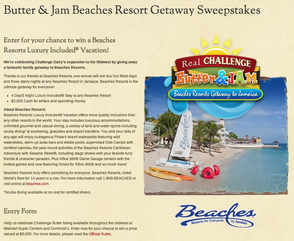 "The Challenge Butter ""Butter & Jam"" Beaches Resorts Getaway to Jamaica Online Sweepstakes"