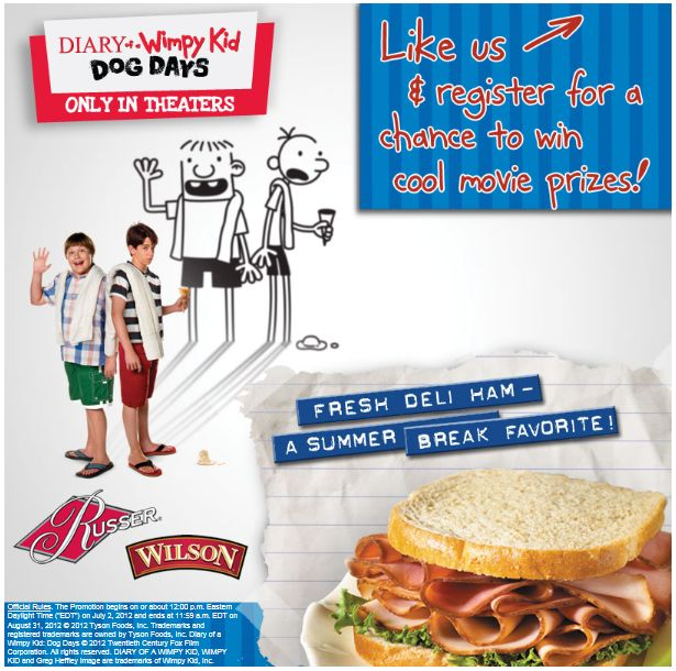 Wilson™ Ham and Russer® Ham and Diary of a Wimpy Kid 3 Dog Days Giveaway