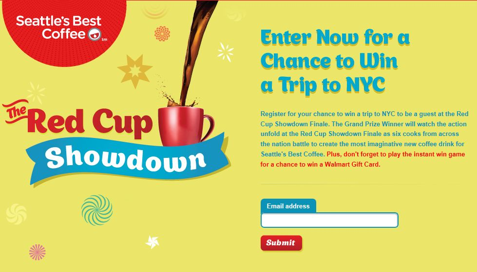Seattle's Best Coffee Red Cup Showdown Instant Win and Sweepstakes