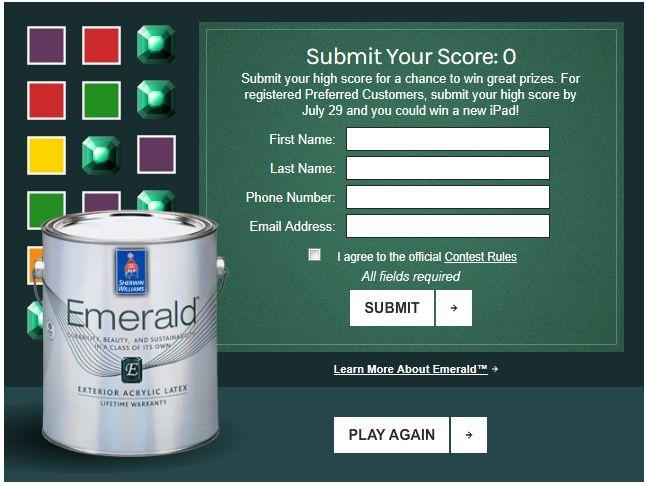 Sherwin-Williams Emeralds Contest