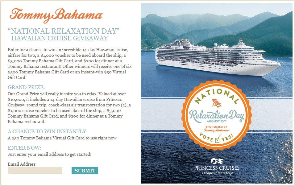 "Tommy Bahama ""National Relaxation Day"" Hawaiian Cruise Giveaway"