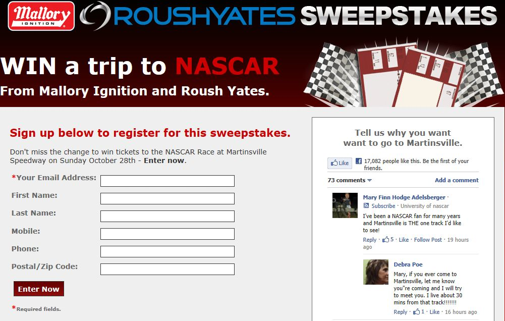 The Mallory and Roush Yates Win a Trip to a NASCAR Race Sweepstakes