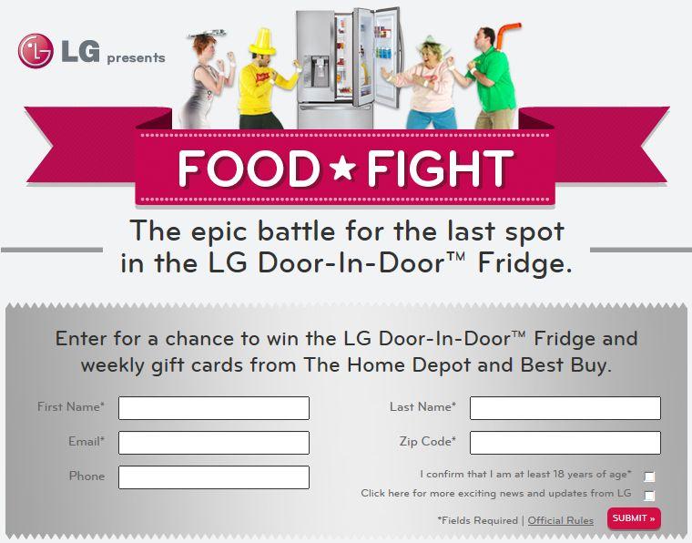 The LGEUS Door-In-Door Refrigerator Food Fight Sweepstakes