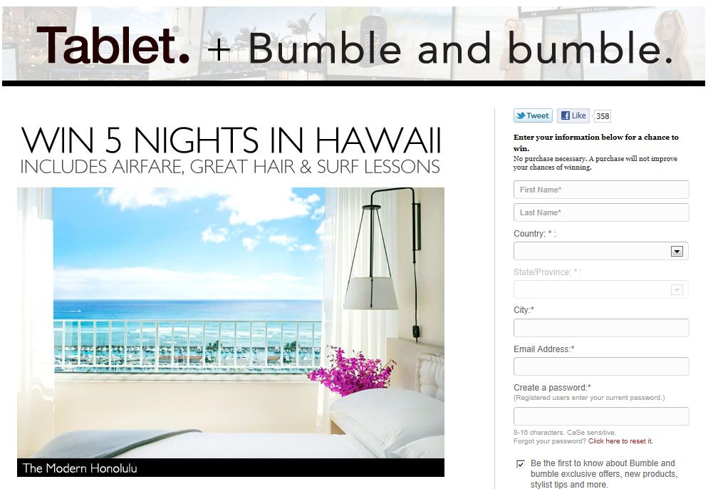 Tablet's and Bumble and Bumble's Monthly Sweepstakes