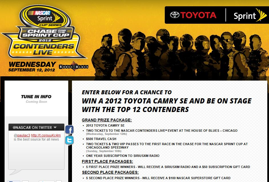 The Chase for the NASCAR Sprint Cup™ Contenders LiveSM Sweepstakes