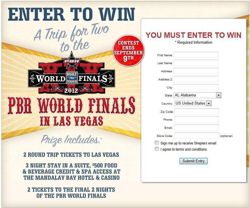 Sheplers PBR World Finals Trip Giveaway