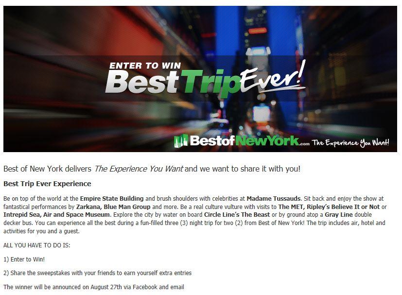 BestofNewYork.com – Best Trip Ever Sweepstakes