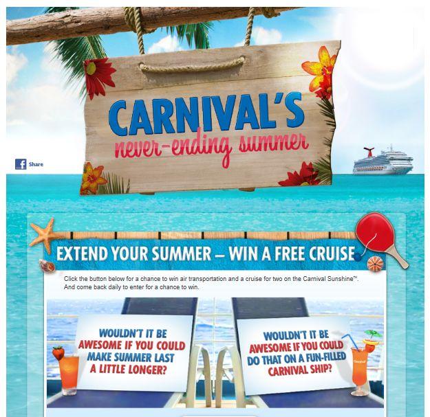 Carnival's Never Ending Summer Sweepstakes