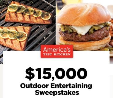 America's Test Kitchen $15,000 Outdoor Entertaining Sweepstakes