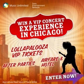 Sony Chicago VIP Concert 2012 Sweepstakes