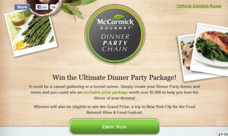 McCormick Gourmet Dinner Party Chain Contest