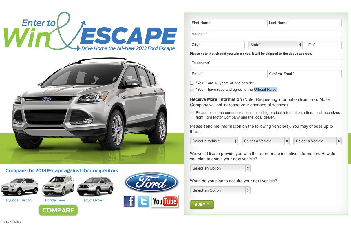 Summer Vehicle Giveaway to Win 2013 Ford Fusion & Escape