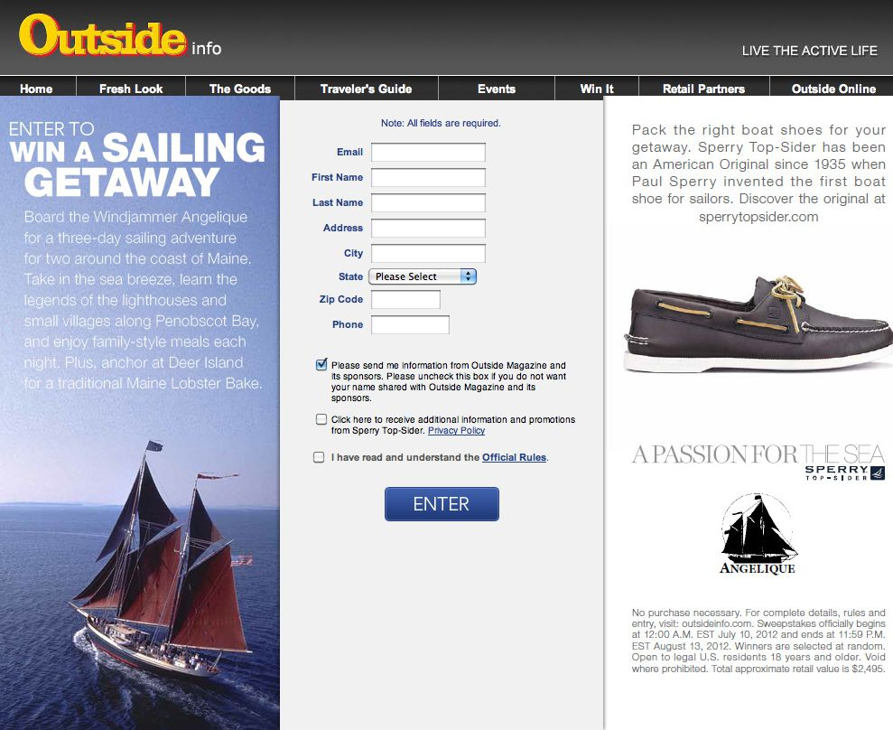 """Outside Magazine/Sperry """"Angelique 3-day Sailing"""" Sweepstakes"""