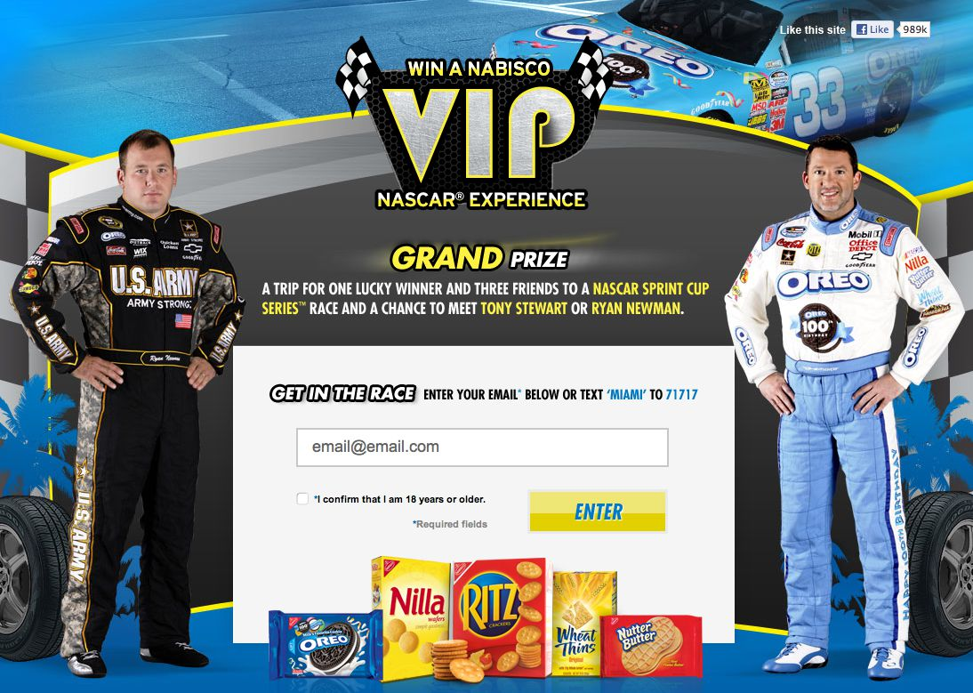 Win A Nabisco VIP Nascar ® Experience Sweepstakes