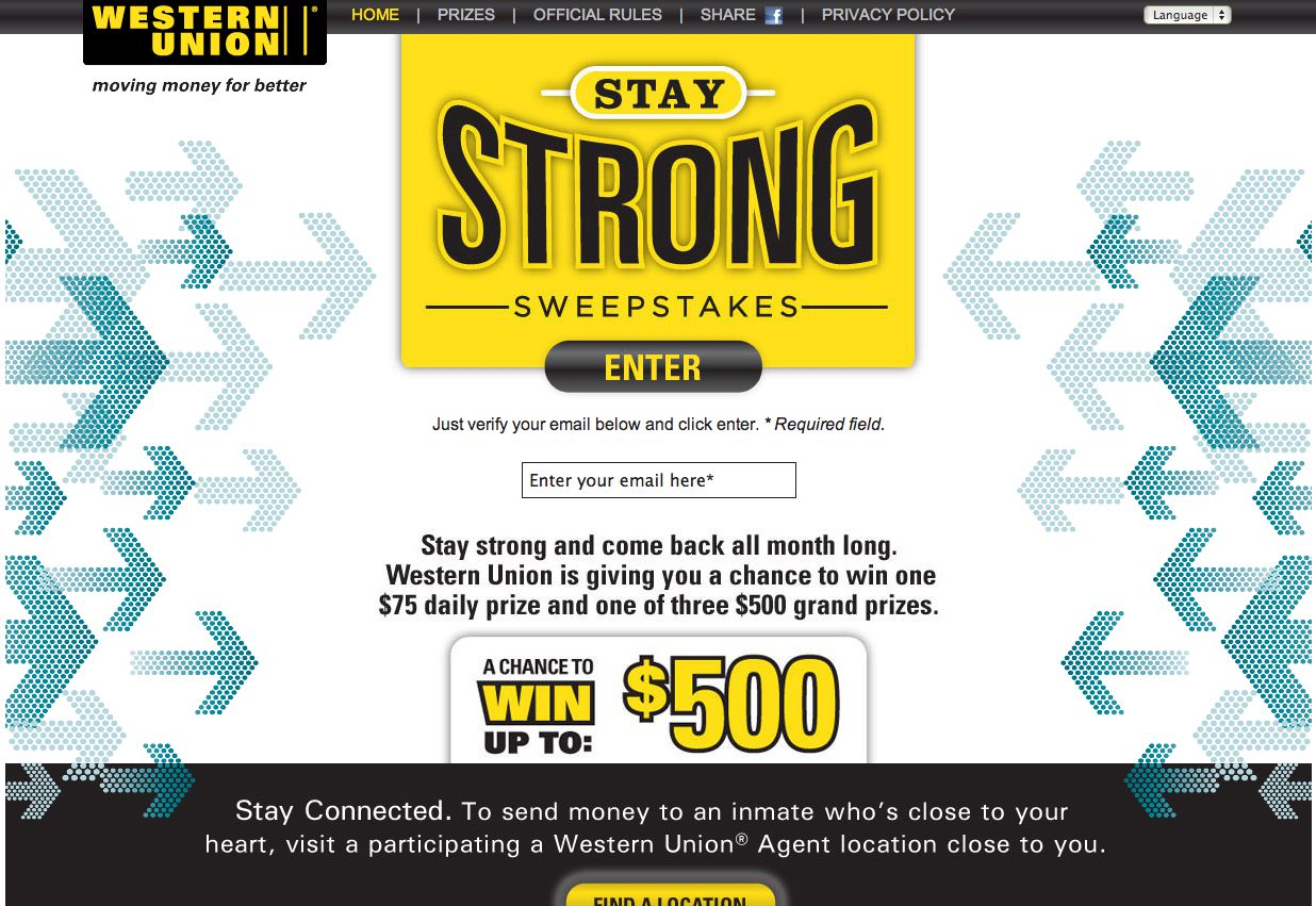 """The Western Union® """"Stay Strong"""" Sweepstakes"""