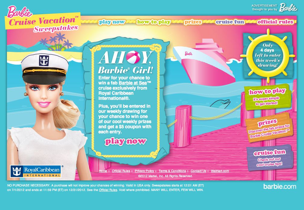 Barbie Cruise Vacation Sweepstakes (Code)