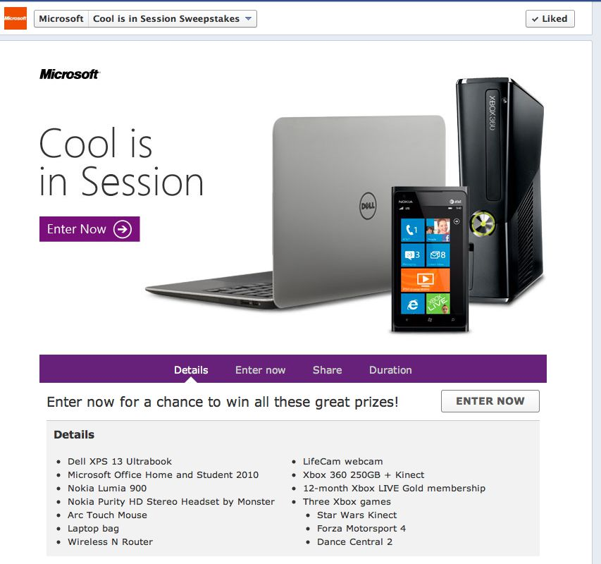 """Microsoft """"Cool is in Session"""" Sweepstakes"""