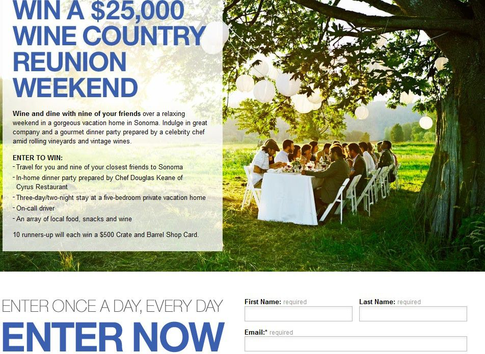 The Crate and Barrel $25,000 Wine Country Reunion Weekend Sweepstakes