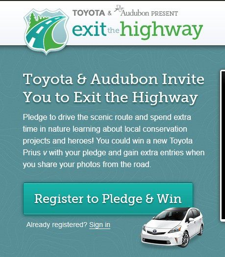 """National Audubon Society """"Exit The Highway"""" Sweepstakes"""