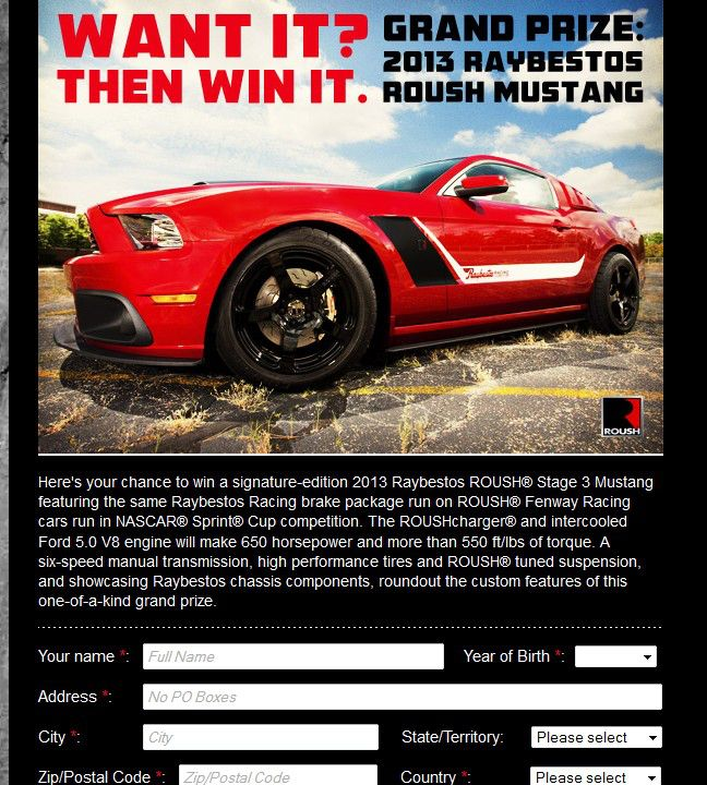 2012 Raybestos 2013 Roush Mustang Sweepstakes