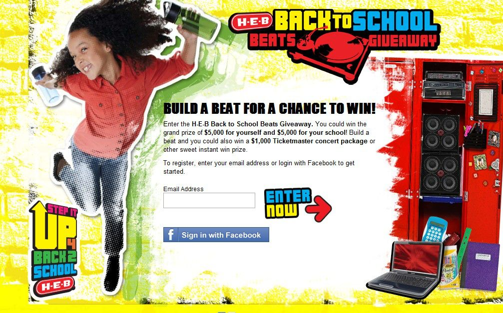 H-E-B Back To School Beats Giveaway Sweepstakes (Texas only)