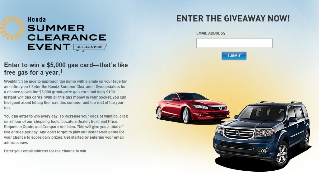 Honda  Summer Clearance Event Sweepstakes