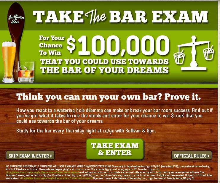 """The TBS Sullivan and Son """"Take the Bar Exam"""" Sweepstakes"""