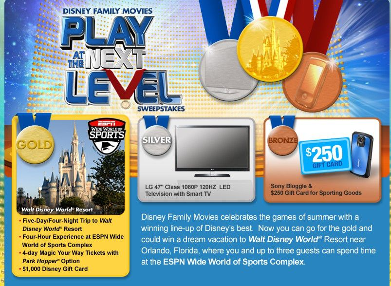 The Disney Family Movies – Play at the Next Level Sweepstakes