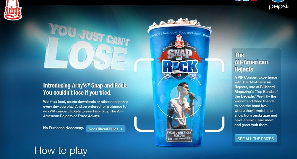 Arby's Snap & Rock Sweepstakes