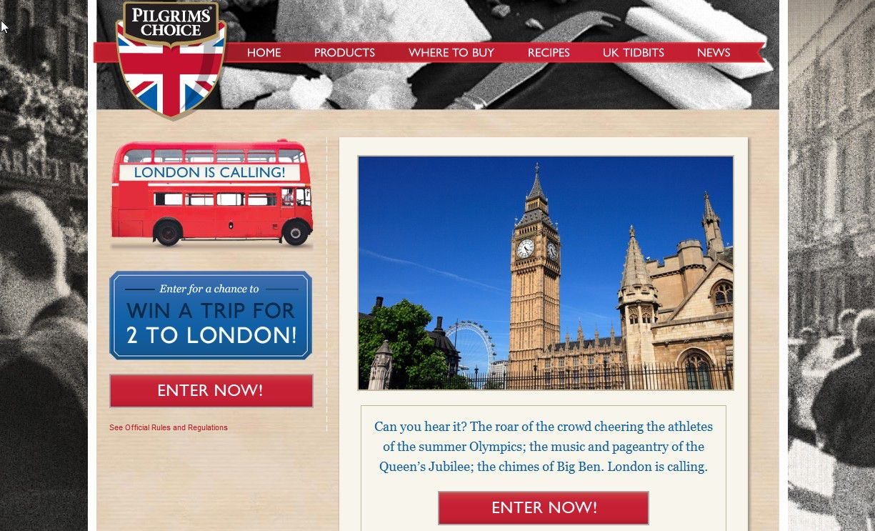 Pilgrims Choice Win a Trip to London Sweepstakes