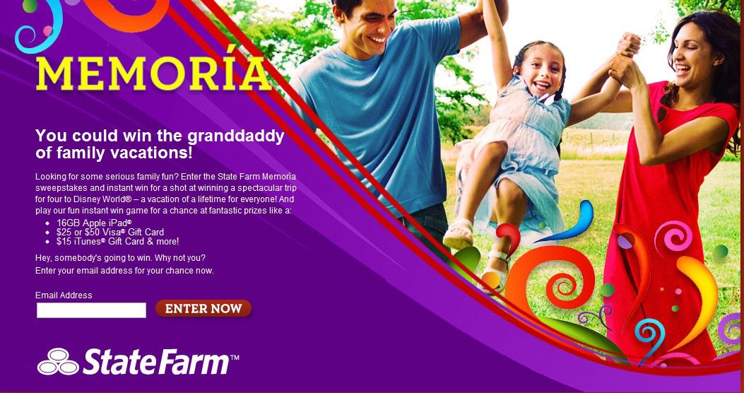 State Farm Memoria Sweepstakes (Selected States only)