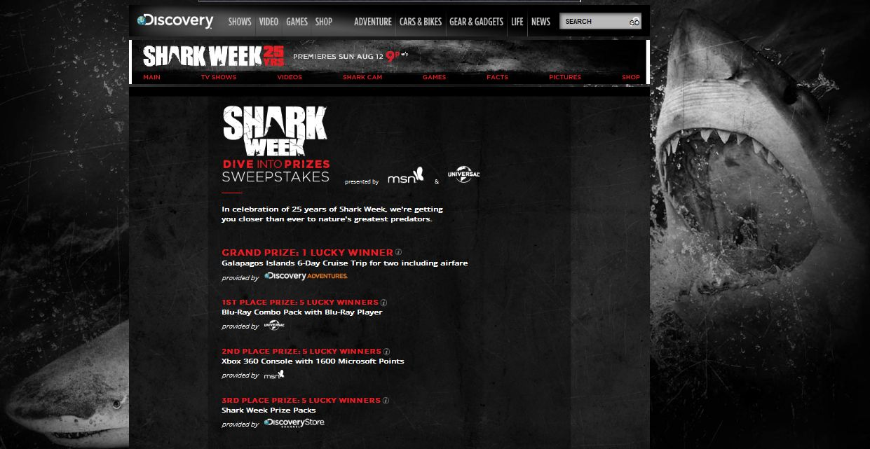 "Discovery Channel's Shark Week ""Dive Into Prizes"" Sweepstakes"