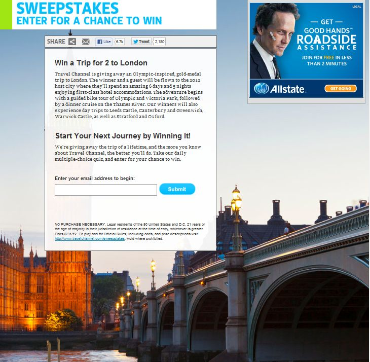 Travel Channel August 2012 Sweepstakes