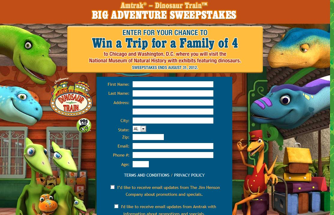 The Dinosaur Train Sweepstakes
