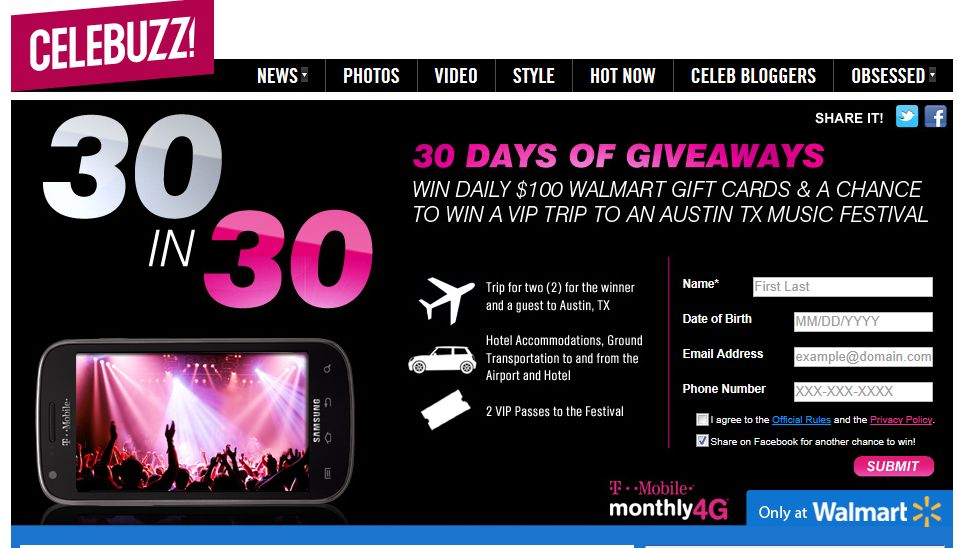 T-Mobile/Walmart 30 in 30 Sweepstakes