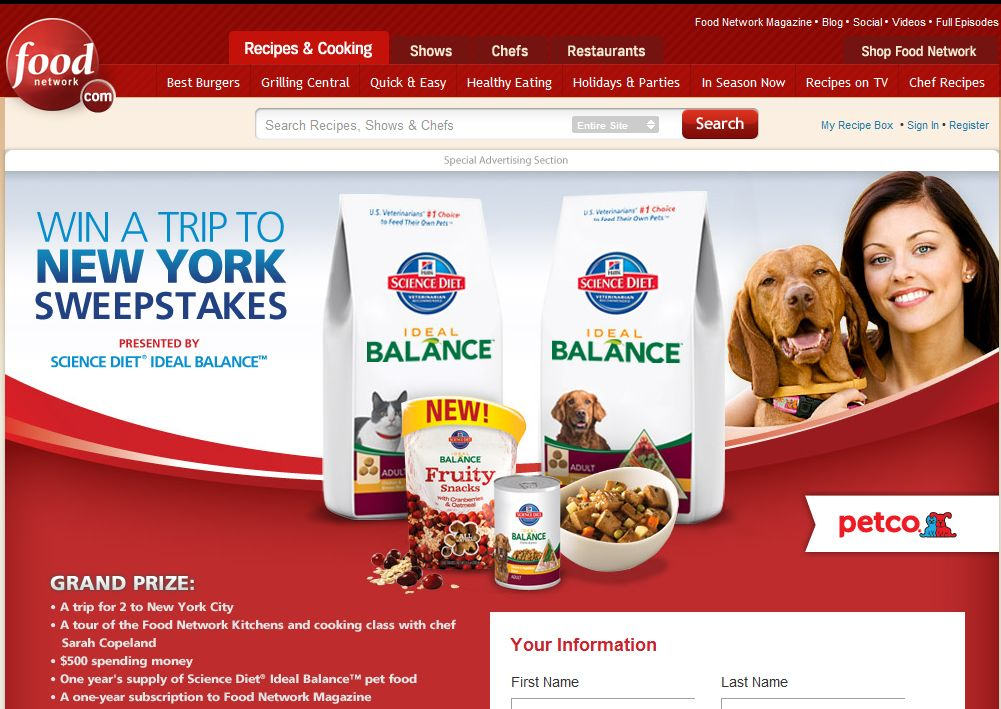 Science Diet Ideal Balance Win a Trip to New York Sweepstakes