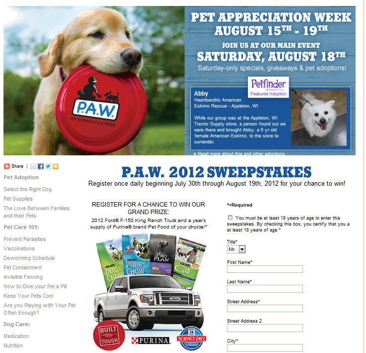 Tractor Supply Pet Appreciation Week Sweepstakes