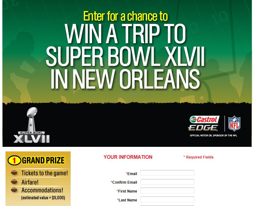 Advanced Auto Parts Castrol Super Bowl Sweepstakes