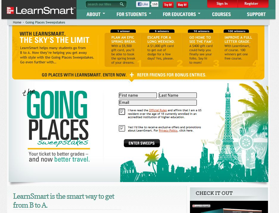 McGraw-Hill LearnSmart The Going Places Sweepstakes