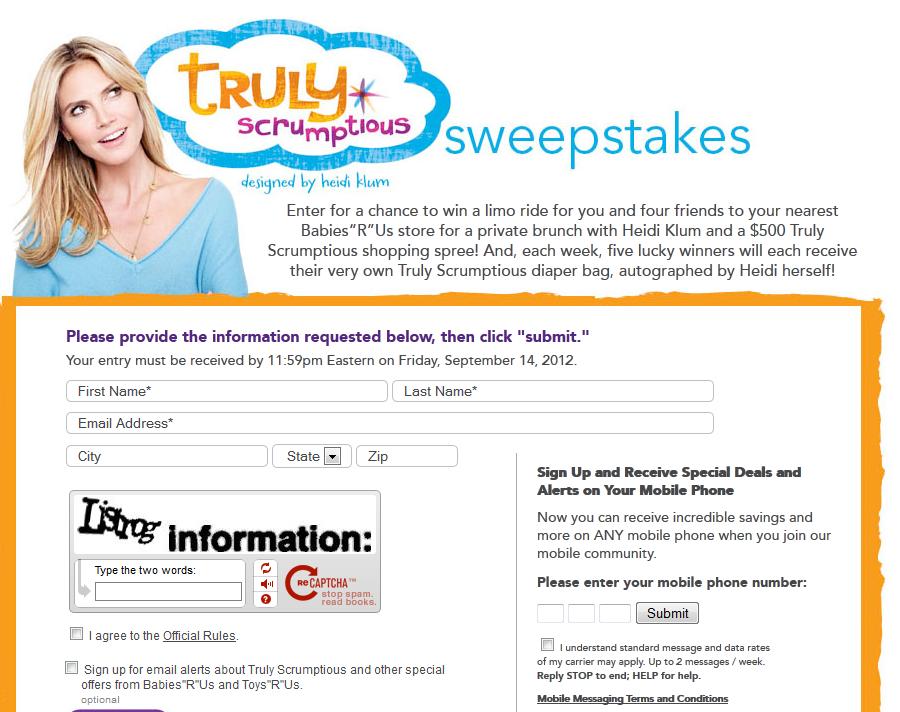 Heidi Klum Truly Scrumptious Sweepstakes