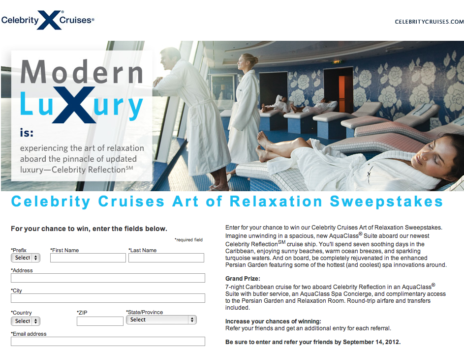 Celebrity Cruises Art of Relaxation Sweepstakes