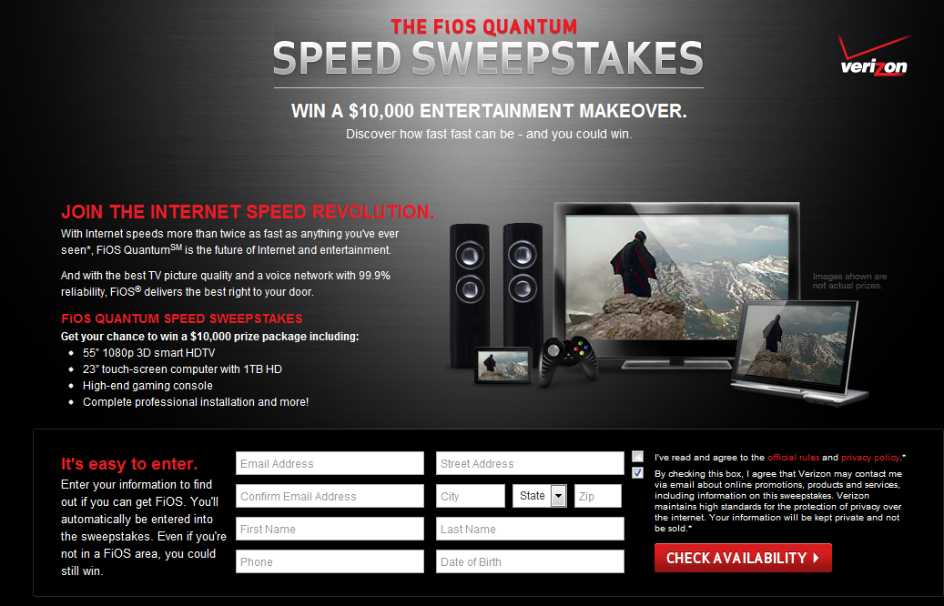 Verizon's FiOS Quantum Speed Sweepstakes