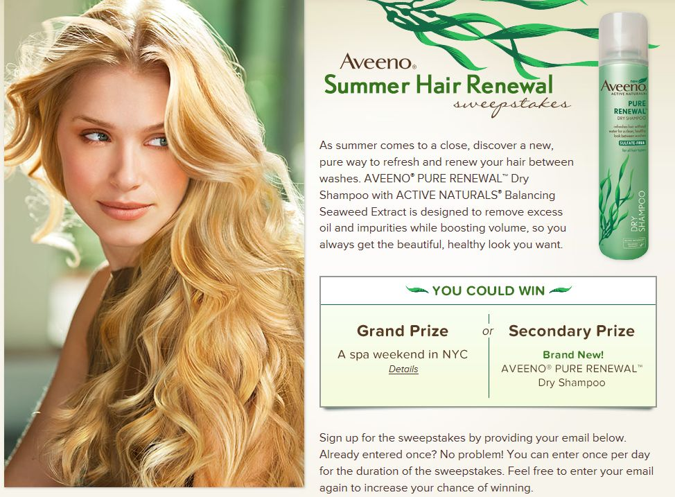 AVEENO Summer Hair Renewal Sweepstakes