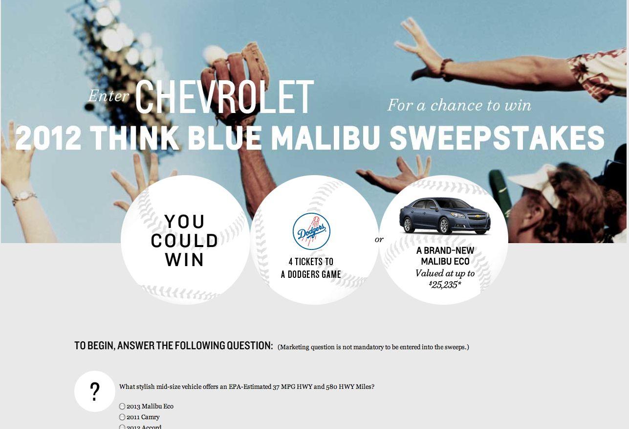 2012 Think Blue Malibu Sweepstakes